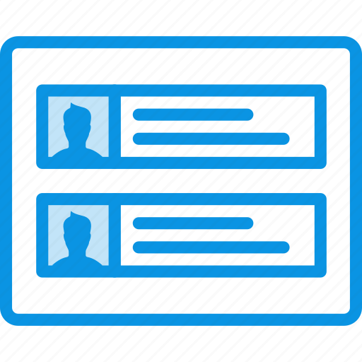 accounts, comments, grid, layout, profiles, wireframe icon