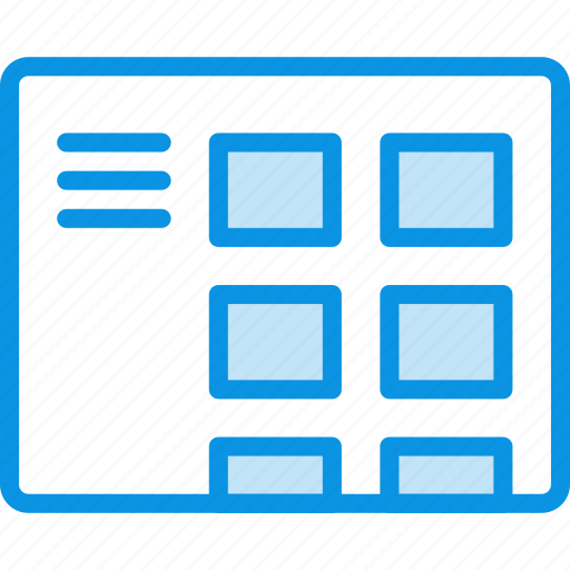 blog, grid, layout, menu, thumbnails, wireframe icon