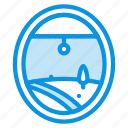 air, airplane, land, plane, porthole, view, window icon