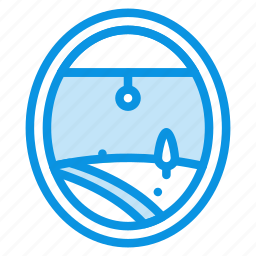 air, airplane, land, plane, porthole, view, window icon