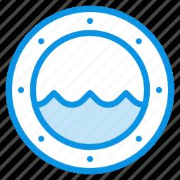 marine, nautical, porthole, ship, view, water, window icon