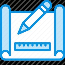 drafting, drawing, map, plan, scheme icon