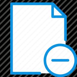 add, delete, document, file, page, paper, remove icon