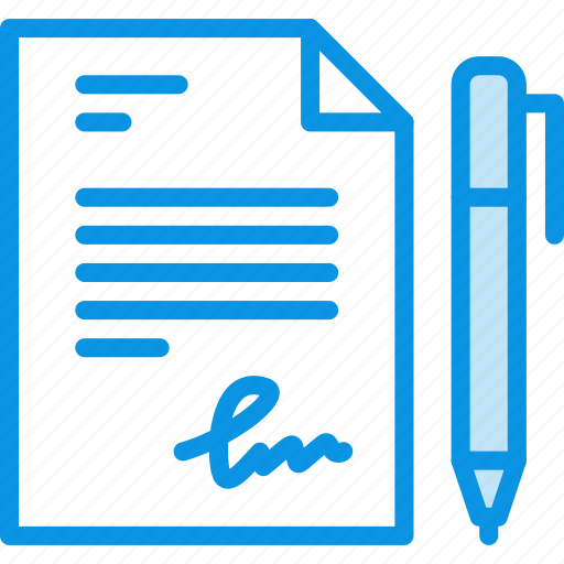 document, pen, sign icon
