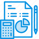 analytics, business, calculator, data, diagram, document, pencil, work icon