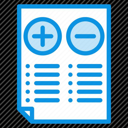 comparison, cons, document, file, minus, plus, pros, test icon