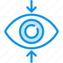 decrease, eye, find, focus, perspective, sight, view icon