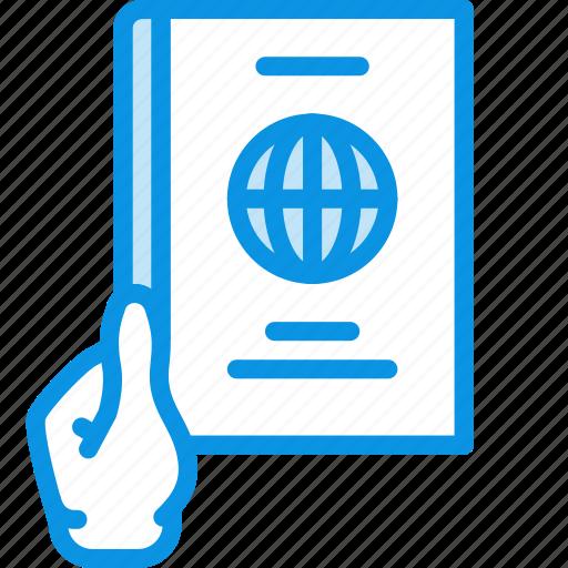 document, give, hand, id, international, pass, passport, travel icon