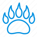 bear, clutches, footprint icon