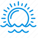ocean, sea, sunrise icon