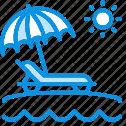 beach, lounger, sand, sea, sun, travel, umbrella, vacation icon