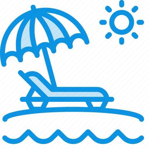 beach, umbrella, vacation icon