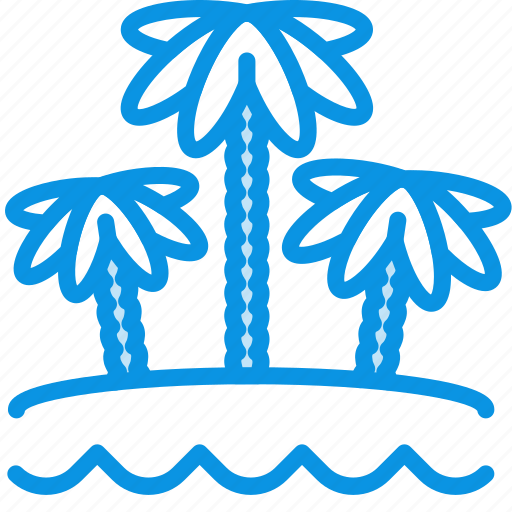 beach, palm, vacation icon