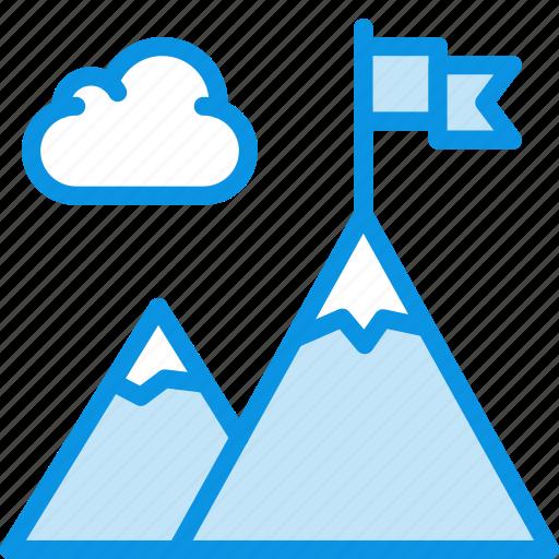 business, flag, mountains icon