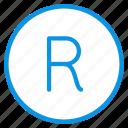 logo, registered, rights, trademark icon