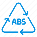 abs, acrylonitrile, plastic, recyclable icon