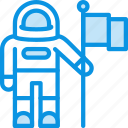 astronaut, cosmonaut, cosmos, flag, science, space icon