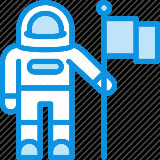 astronaut, cosmonaut, cosmos, flag, science, space icon