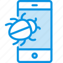 bug, smartphone, virus icon
