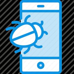 bug, smartphone, virus icon