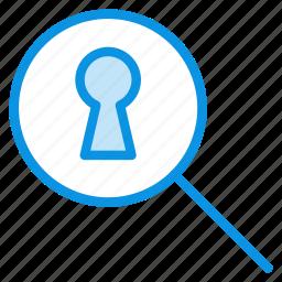 keyhole, search, secret icon