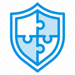 complex, elements, modal, protection, puzzle, security, shield icon