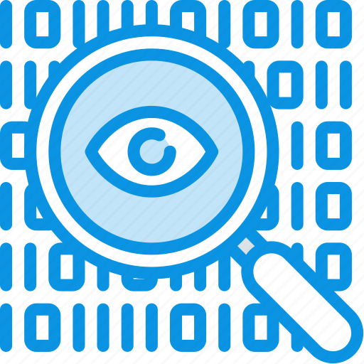 code, data, encryption, eye, find, inspect, search, spy icon