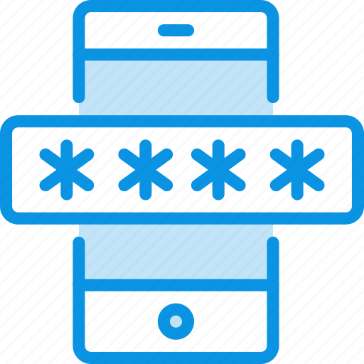 mobile, password, smartphone icon
