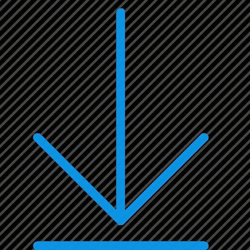 arrow, bottom, down, end, finish, rewind icon