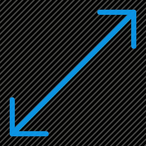 arrow, corner, diagonal, move, scale, transform icon