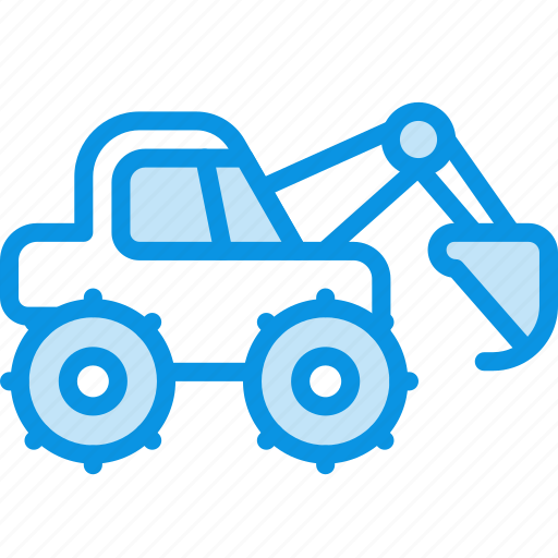 construction, digger, equipment, excavator, industrial icon