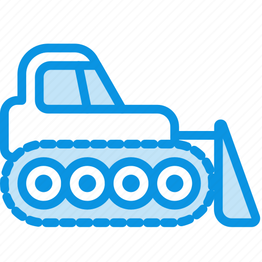bulldozer, caterpillar, dozer icon