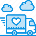 delivery, happy, logistics, love, shipping, transport, truck icon