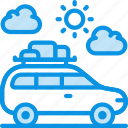 baggage, camping, car icon