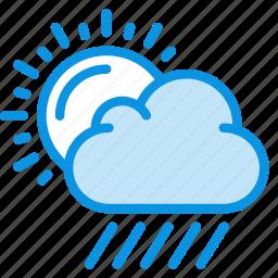 clouds, day, daylight, rain, rainy, sun, weather icon