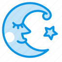 crescent, fable, face, fairy, moon, night, tale icon
