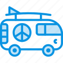 hippy, vacation, van icon