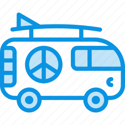 car, combi, hippy, transport, vacation, van icon