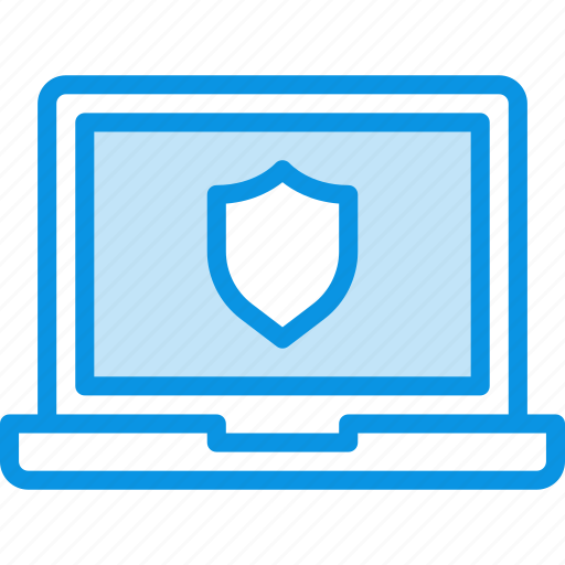 encryption, laptop, protection, safe, secure, security, shield icon