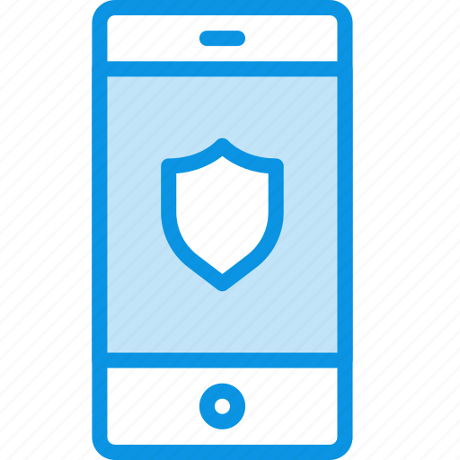 mobile, protected, shield icon