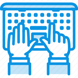 hands, laptop, office, type, typing, work, working icon