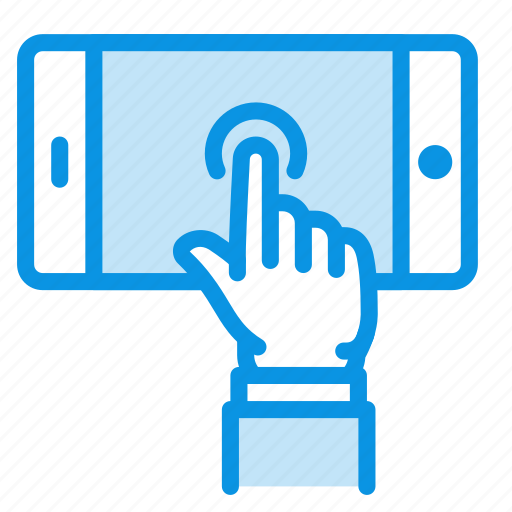 gesture, hand, mobile, phone, play, screen, touch icon