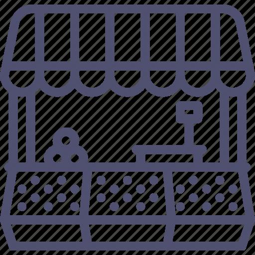 building, food, market, shop, store icon
