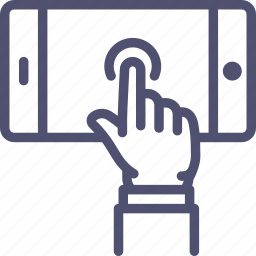 gesture, hand, mobile, phone, play, screen, touch, work icon
