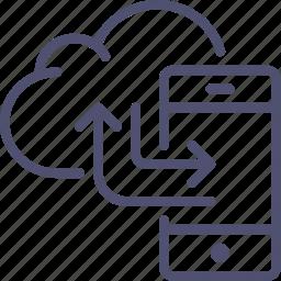 backup, cloud, data, mobile, phone, sync, synchronization, synchronize, transfer icon