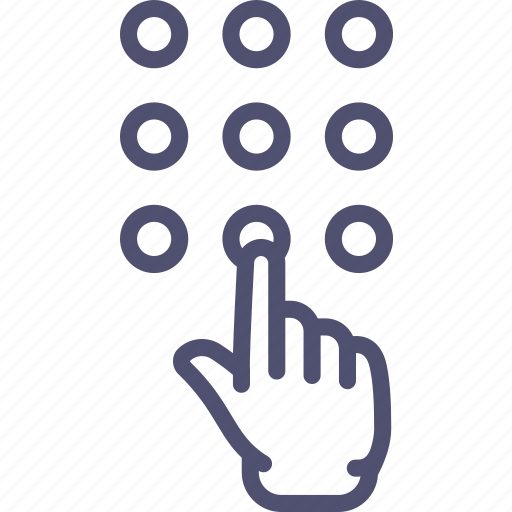 dial, enter, hand, keys, numbers, password icon