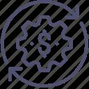 budget, business, finance, flow, money, process icon