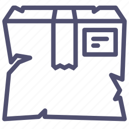 box, broken, cargo, delivery, fail, failure, package, product, smashed icon