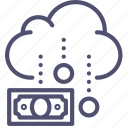 business, cash, cloud, coins, finance, funding, income, money, rain icon