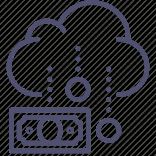 business, cash, cloud, coins, finance, funding, income, money, rain icon